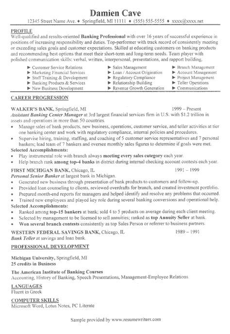 banking executive resume financial services resume sles