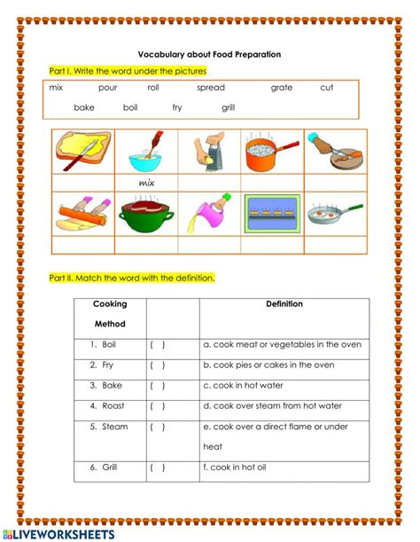 food preparation vocabulary ficha interactiva