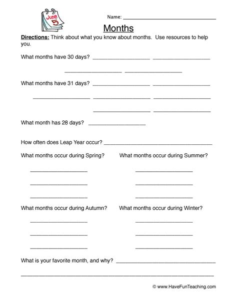 calendar worksheets fun teaching