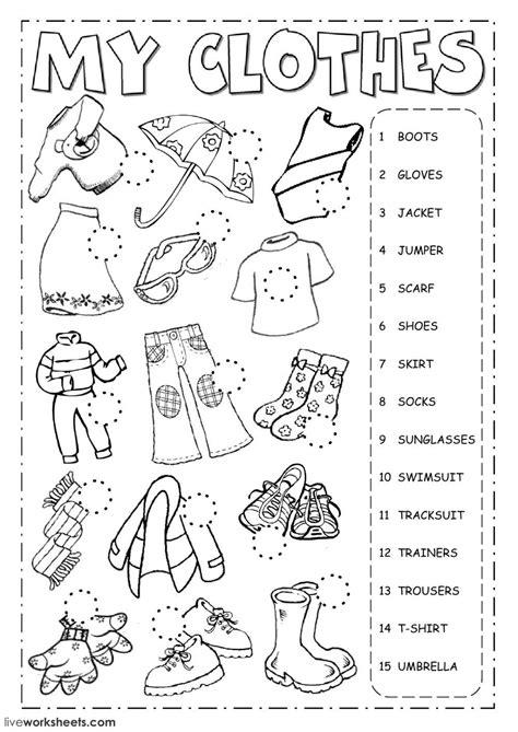 clothes english language esl worksheet exercises online
