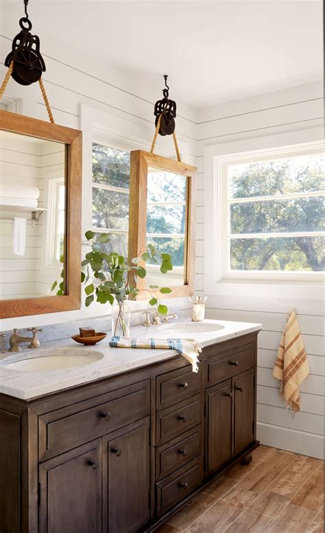 stunning california wine country cottage bathroom mirror design