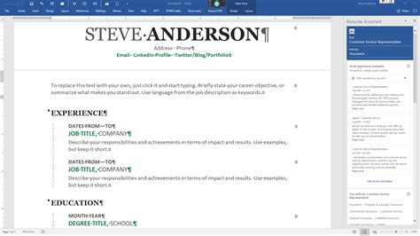 linkedin resume assistant microsoft word steve anderson