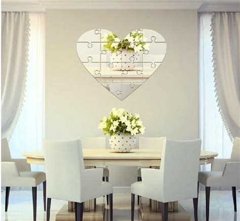 large unique wall mirror heart shaped puzzle pieces