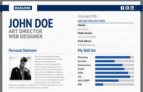 30 resume cv html templates personal business card