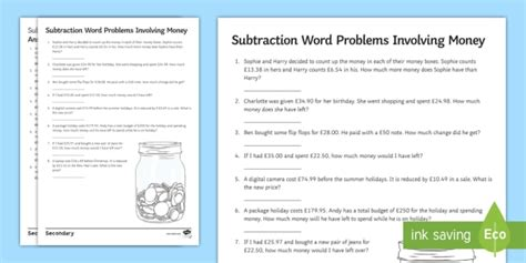 subtraction money word problems worksheet