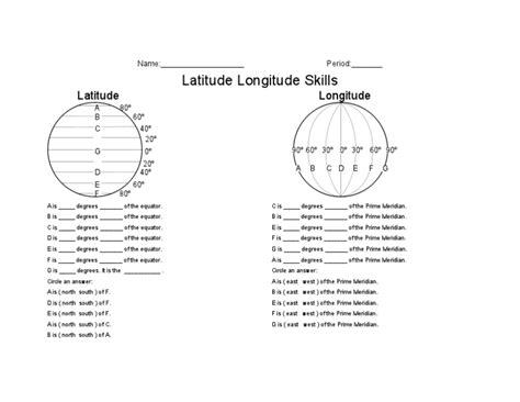 latitude longitude skills worksheet 5th 8th grade lesson