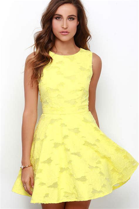 cute yellow dress skater dress jacquard dress 76