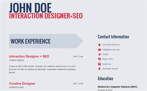 25 free html resume templates successful online job
