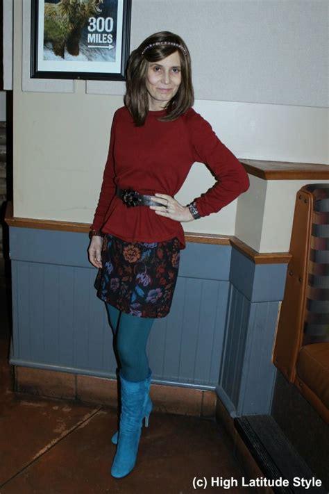 fashionover50 mature woman mini skirt knee high footwear