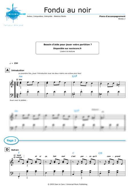 piano sheet music fondu au noir coeur de