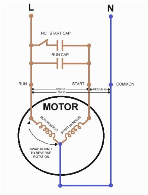 single phase capacitor start capacitor run motor wiring