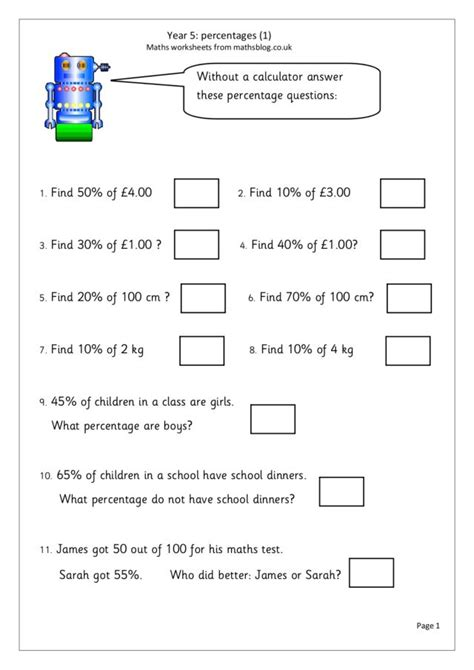 percentages english money metric measures worksheet 5th 6th