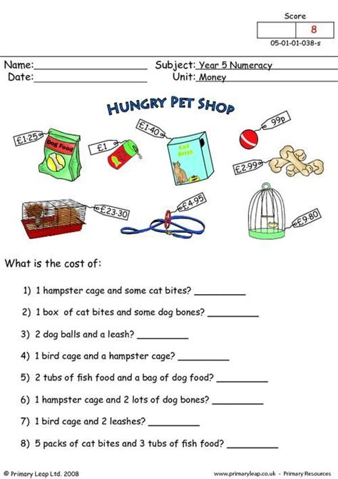 primaryleap money worksheet maths printable worksheets primaryleap pinterest