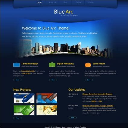 blue arc design free website templates css html