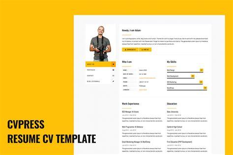 cvpress resume cv site template html css themes