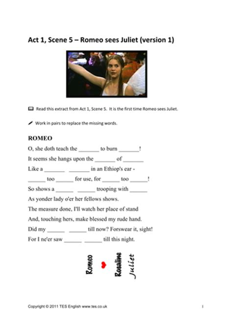 romeo juliet worksheets act 1 scene 5 tesenglish