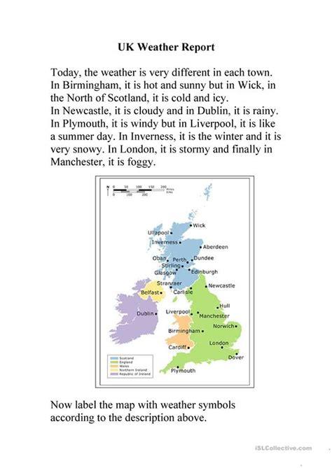 uk weather report worksheet free esl printable worksheets
