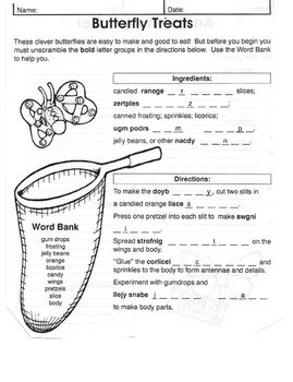 insect worksheet free gideon learning activities tpt