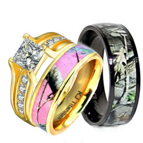 3 pcs pink camo 14k gold plated silver
