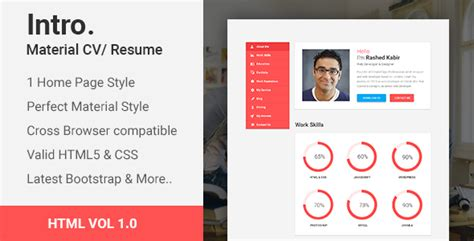 intro material cv resume html template download intro