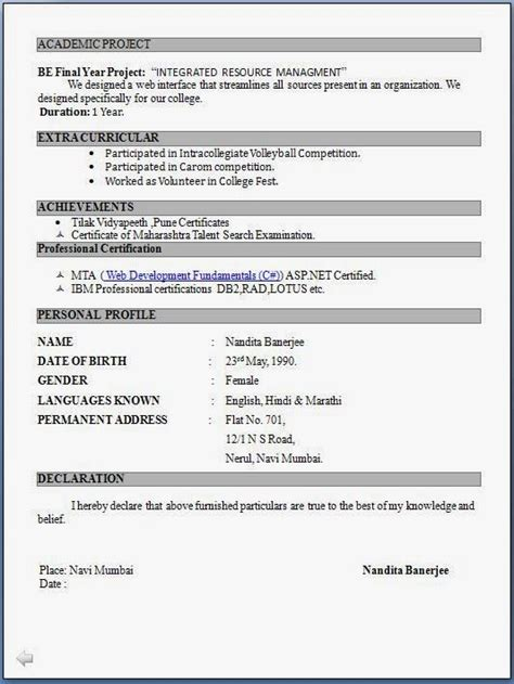 resume format freshers latest professional resume formats word