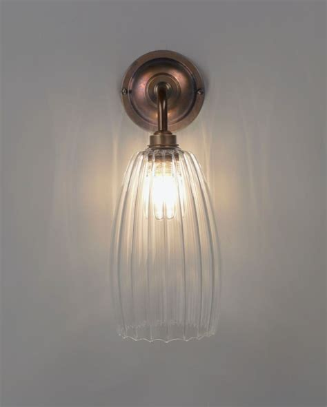 clear ribbed glass bathroom wall light upton retro
