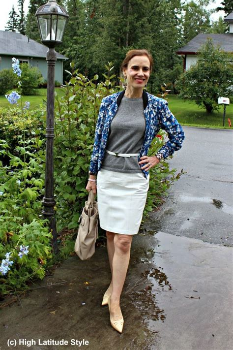 fashionover50 mature woman casual office outfit leather skirt