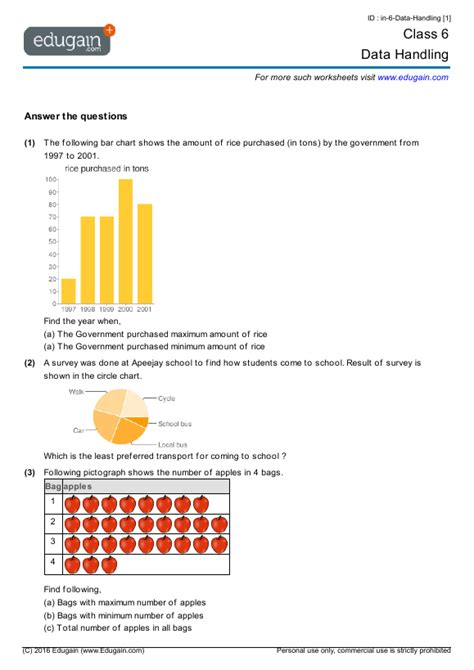 class 6 math worksheets problems data handling edugain