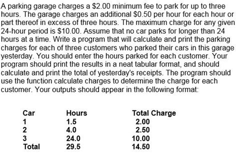 solved parking garage charges 2 00 minimum fee
