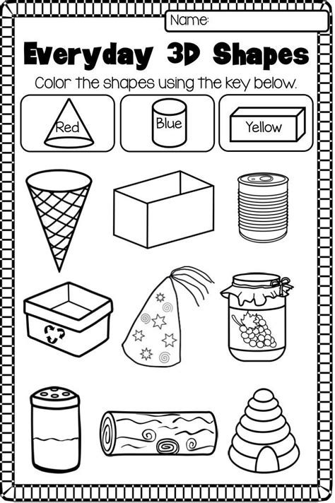 2d 3d shapes worksheet pack prep shapes worksheet