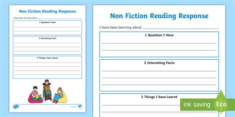 fiction reading response worksheets fiction reading response