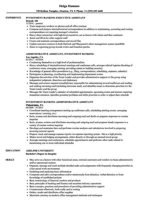 investment assistant resume sles velvet jobs