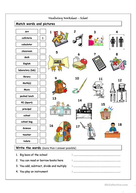 vocabulary matching worksheet school worksheet free esl printable