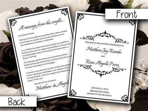 fold wedding program template microsoft word antique chic