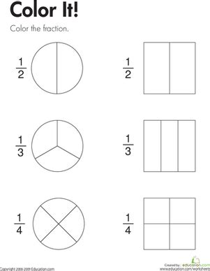 color fraction worksheet education