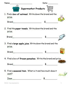 supermarket community outing printable activities