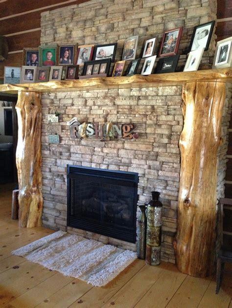 Tree Log Fireplace Mantel