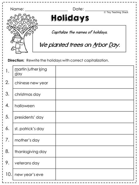 2nd grade language arts grammar practice sheets freebie