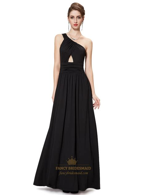 black shoulder chiffon long bridesmaid dress keyhole detail