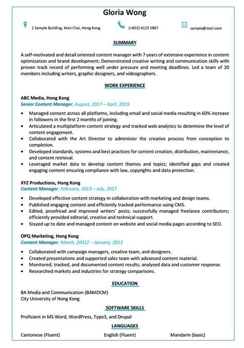resume cv sle content manager jobsdb hong kong