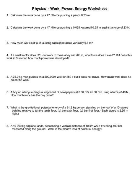 worksheet simple work energy problems