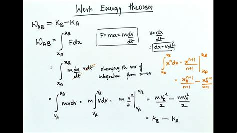 work energy theorem variable force youtube