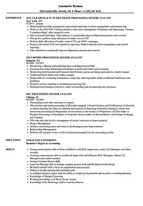 processing senior analyst resume sles velvet jobs