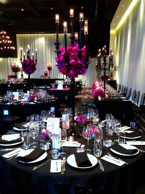 black white decor red purple flowers wedding centerpieces