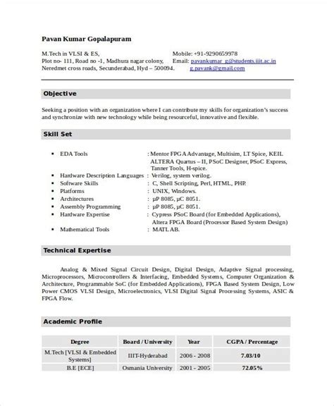 iti resume format electronics resume template 8 free