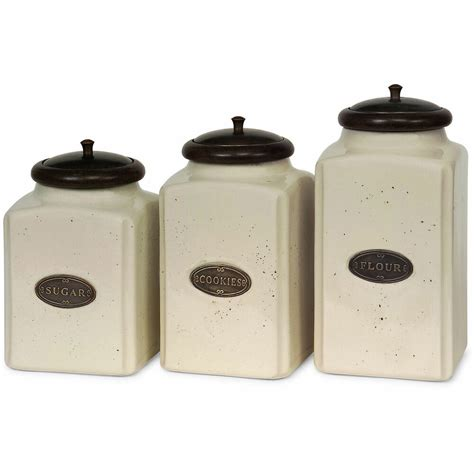 3 piece ivory ceramic canister set kitchen home