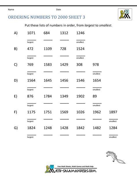 free 3rd grade math worksheets ordering numbers 1