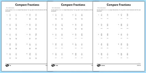 year 6 compare fractions worksheet teacher