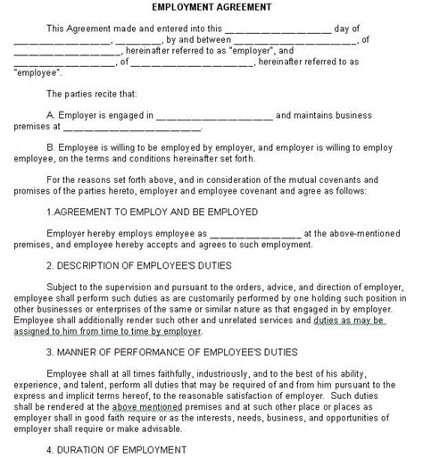 employment agreement legal form sle