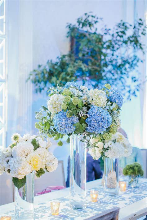 tall blue white hydrangea centerpieces